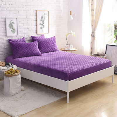 2019新款水晶绒单床笠 150cmx200cm 紫色