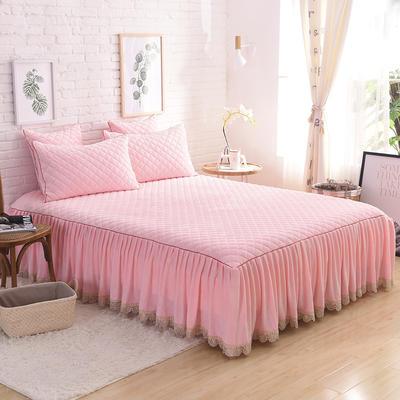 2019新款水晶绒绗绣三件套 1.5床裙款三件套 粉玉色