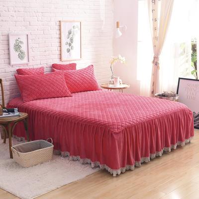 2019新款水晶绒绗绣三件套 1.5床裙款三件套 砖红色