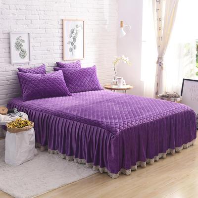2019新款水晶绒绗绣三件套 1.5床裙款三件套 紫色