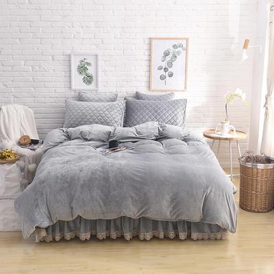 2019新款水晶绒夹棉四件套床裙款和床笠款 1.5m床裙款四件套 淡灰色
