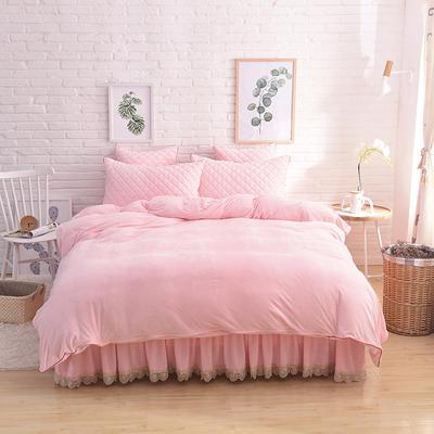 2019新款水晶绒夹棉四件套床裙款和床笠款 1.5m床裙款四件套 粉玉色