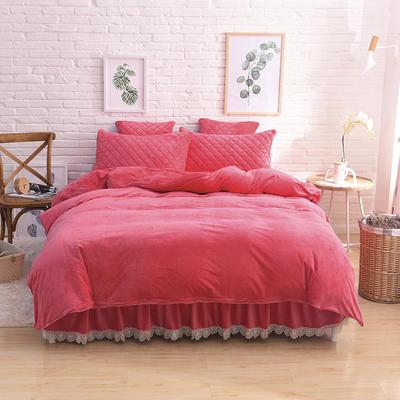 2019新款水晶绒夹棉四件套床裙款和床笠款 1.5m床裙款四件套 砖红色