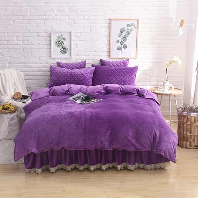 2019新款水晶绒夹棉四件套床裙款和床笠款 1.5m床裙款四件套 紫色