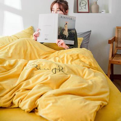 2019简约刺绣法兰绒系列四件套 1.2m床单款三件套 姜黄色