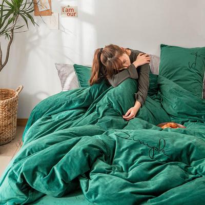 2019简约刺绣法兰绒系列四件套 1.2m床单款三件套 玛瑙绿