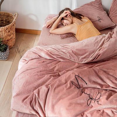 2019简约刺绣法兰绒系列四件套 1.2m床单款三件套 藕粉色