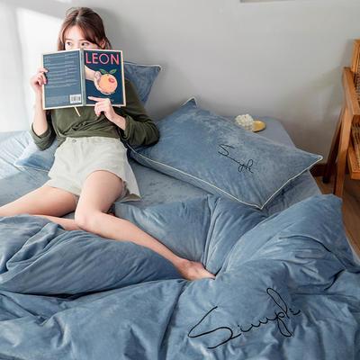 2019简约刺绣法兰绒系列四件套 1.2m床单款三件套 柔蓝色