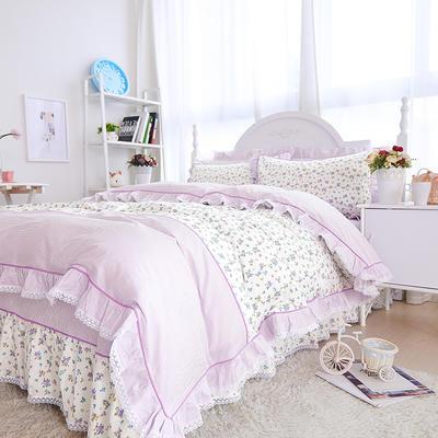 2020新款韩版全棉133*72蕾丝花边四件套 1.5m床单款四件套 情定花开-紫