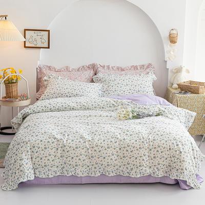 2020新品小碎花花边四件套 1.2m床单款三件套 紫薇花开