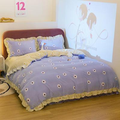 2020新款牛奶绒四件套 1.8m床单款四件套 小雏菊-紫