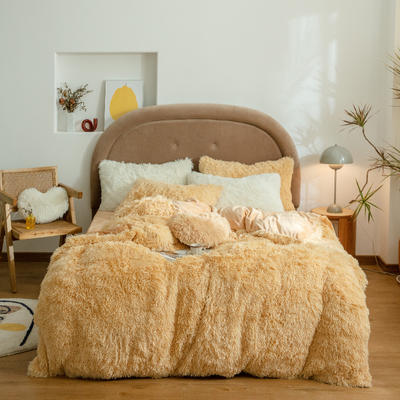 2020新款A版水貂绒B版水晶绒四件套 1.5m床单款四件套 浅棕黄