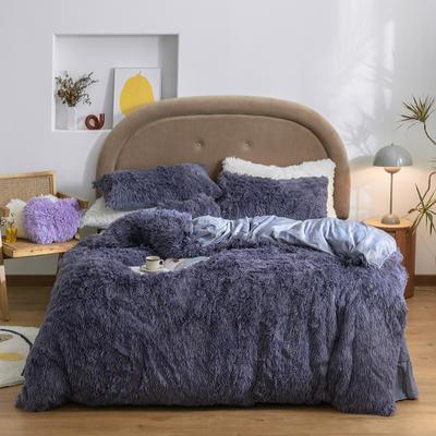 2020新款A版水貂绒B版水晶绒四件套 1.5m床单款四件套 深薰紫