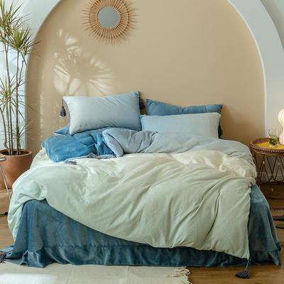 2020新款冬日玛卡龙色系牛奶绒四件套 1.8m床单款四件套 优蓝色