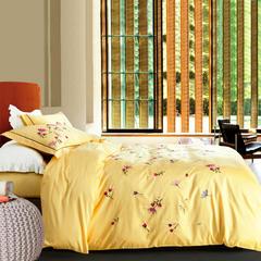 徐大大家纺    60贡缎绣花四件套 1.5m(5英尺)床 卉馨黄