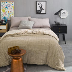 恩和家纺   2016 新款水晶绒色织条纹多功能毛毯系列 180cmX(范围200-220)cm 卡其色