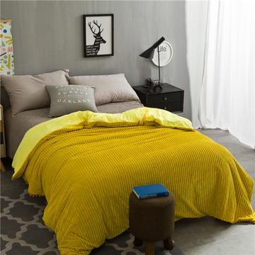 毛毯 水晶绒被套 新款水晶绒色织条纹多功能毛毯系列