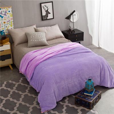 毛毯 水晶绒被套 新款水晶绒色织条纹多功能毛毯系列 150cmX(范围200-220)cm 香芋紫