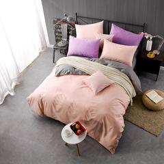 恩和家纺    2016 新片-时尚纯色双拼四件套14款 1.5m(5英尺)床 粉玉加深灰