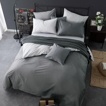 四件套 纯色双拼四件套 全棉40支床单 纯色被套四件套恩和家纺