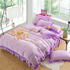 恩和家纺    2016水晶绒色织 床笠式床裙款系列8色 1.5m(5英尺)床 丁香紫