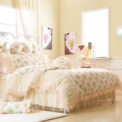 恩和家纺   韩版全棉公主套件系列 2.0m(6.6英尺)床 一帘幽梦蓝