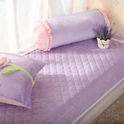 恩和家纺   韩式小清新飘窗垫 超柔短毛绒款    压蕾丝花边款 90*90cm 香芋紫