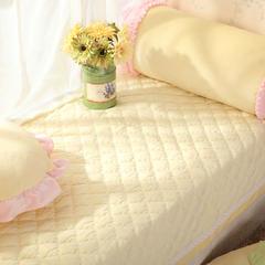 恩和家纺   韩式小清新飘窗垫 超柔短毛绒款    压蕾丝花边款 90*90cm 嫩黄