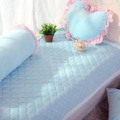 恩和家纺   韩式小清新飘窗垫 超柔短毛绒款    压蕾丝花边款 90*90cm 水兰