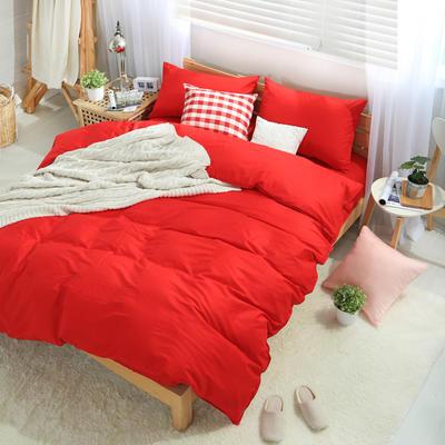 四件套 全棉四件套 纯色套件 13372纯色全棉四件套 恩和家纺 1.5/1.8m(6英尺)床 大红