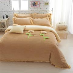 恩和家纺   爆款韩版短毛绒立体花朵系列 1.2m(4英尺)床 小雏菊(浅咖)