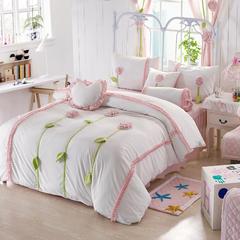 恩和家纺   爆款韩版短毛绒立体花朵系列 1.2m(4英尺)床 白底粉花