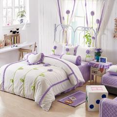 恩和家纺   爆款韩版短毛绒立体花朵系列 1.2m(4英尺)床 白底紫花