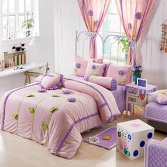 恩和家纺   爆款韩版短毛绒立体花朵系列 1.2m(4英尺)床 粉底紫花