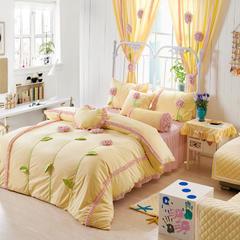 恩和家纺   爆款韩版短毛绒立体花朵系列 1.2m(4英尺)床 黄底粉花