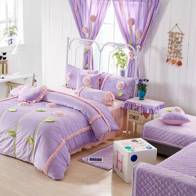 恩和家纺   爆款韩版短毛绒立体花朵系列 1.2m(4英尺)床 紫底粉花