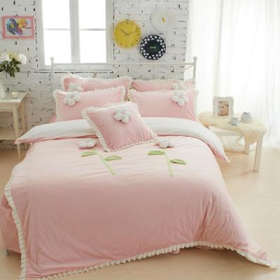 恩和家纺   爆款韩版短毛绒立体花朵系列 1.8m(6英尺)床 甜蜜公主粉色