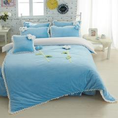 恩和家纺   爆款韩版短毛绒立体花朵系列 1.2m(4英尺)床 甜蜜公主蓝色