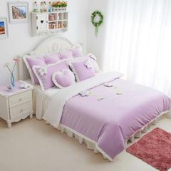 恩和家纺   爆款韩版短毛绒立体花朵系列 1.2m(4英尺)床 甜蜜公主紫白