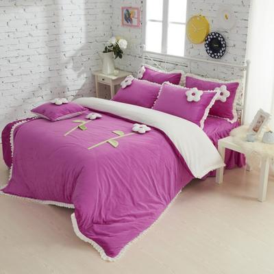 恩和家纺   爆款韩版短毛绒立体花朵系列 1.2m(4英尺)床 甜蜜公主紫色