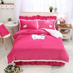 水晶绒贴布绣系列 保暖四件套 200克 1.2m(4英尺)床 凯蒂猫-玫红
