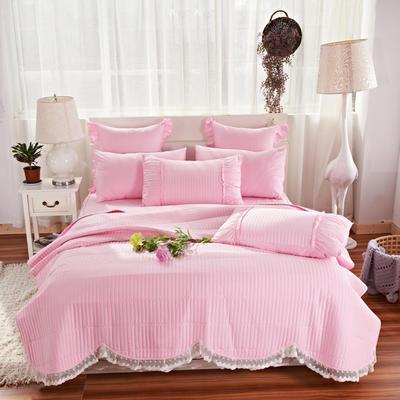 床盖四件套 全棉绗缝四件套 床盖多件套 1.5m(5英尺)床 十里桃花-粉色(四件套)