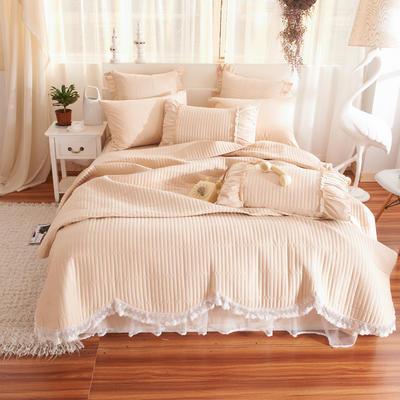 床盖四件套 全棉绗缝四件套 床盖多件套 1.5m(5英尺)床 十里桃花-卡其色(四件套)