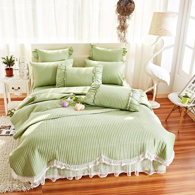 床盖四件套 全棉绗缝四件套 床盖多件套 1.5m(5英尺)床 十里桃花-绿色(四件套)