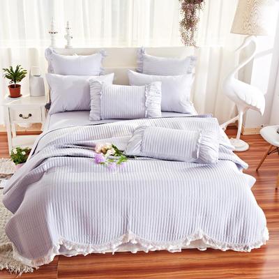 床盖四件套 全棉绗缝四件套 床盖多件套 1.5m(5英尺)床 十里桃花-浅灰(四件套)