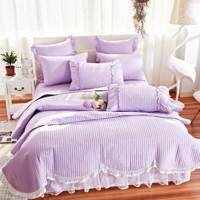 床盖四件套 全棉绗缝四件套 床盖多件套 1.5m(5英尺)床 十里桃花-浅紫(四件套)