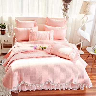 床盖四件套 全棉绗缝四件套 床盖多件套 恩和家纺 1.5m(5英尺)床 十里桃花-玉色(四件套)