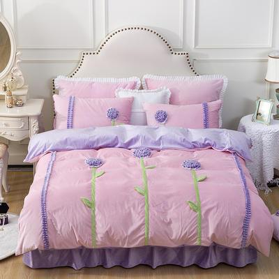 水晶超柔韩式手工花朵系列保暖水晶绒四件套 小号(1.2m床) 粉底紫花