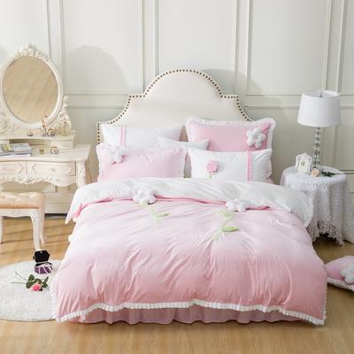 水晶超柔韩式手工花朵系列保暖水晶绒四件套 小号(1.2m床) 甜蜜公主粉色