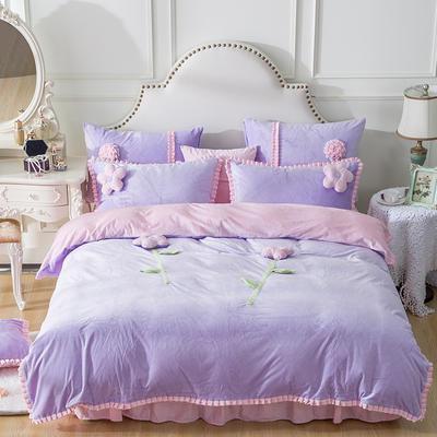 水晶超柔韩式手工花朵系列保暖水晶绒四件套 小号(1.2m床) 甜蜜公主紫粉